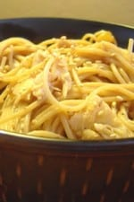 A large bowl of Thai Chicken Peanut Noodles.