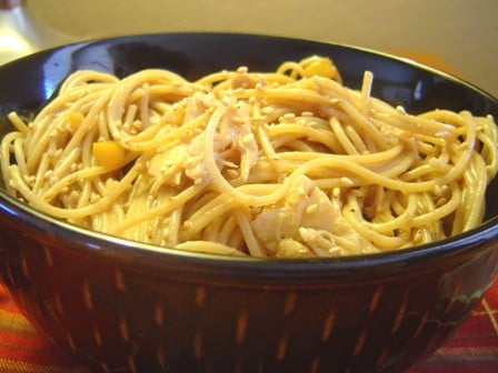A large bowl of Thai Chicken Peanut Noodles.
