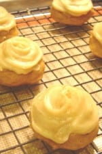 Puffy Pumpkin Cookies with Spiced Vanilla Frosting