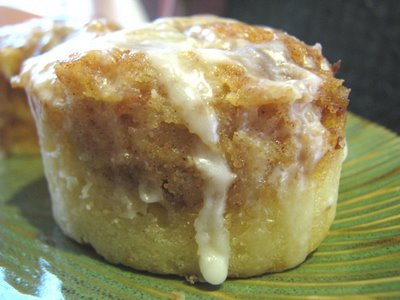 Gooey Cinnabun Cake with Vanilla Icing Drizzled on top