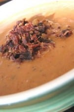 A bowl of Creamy Fire Roasted Tomato and Bacon Soup