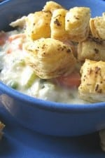 Chicken Pot Pie Bowls with Puffy Croutons and Blog Award