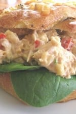 Great Way to Use Leftovers: Adobo Chicken Salad on Cheddar Onion Pockets