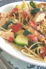Summer Zucchini And Grilled Chicken Spaghetti With Leeks and Fire Roasted Tomatoes