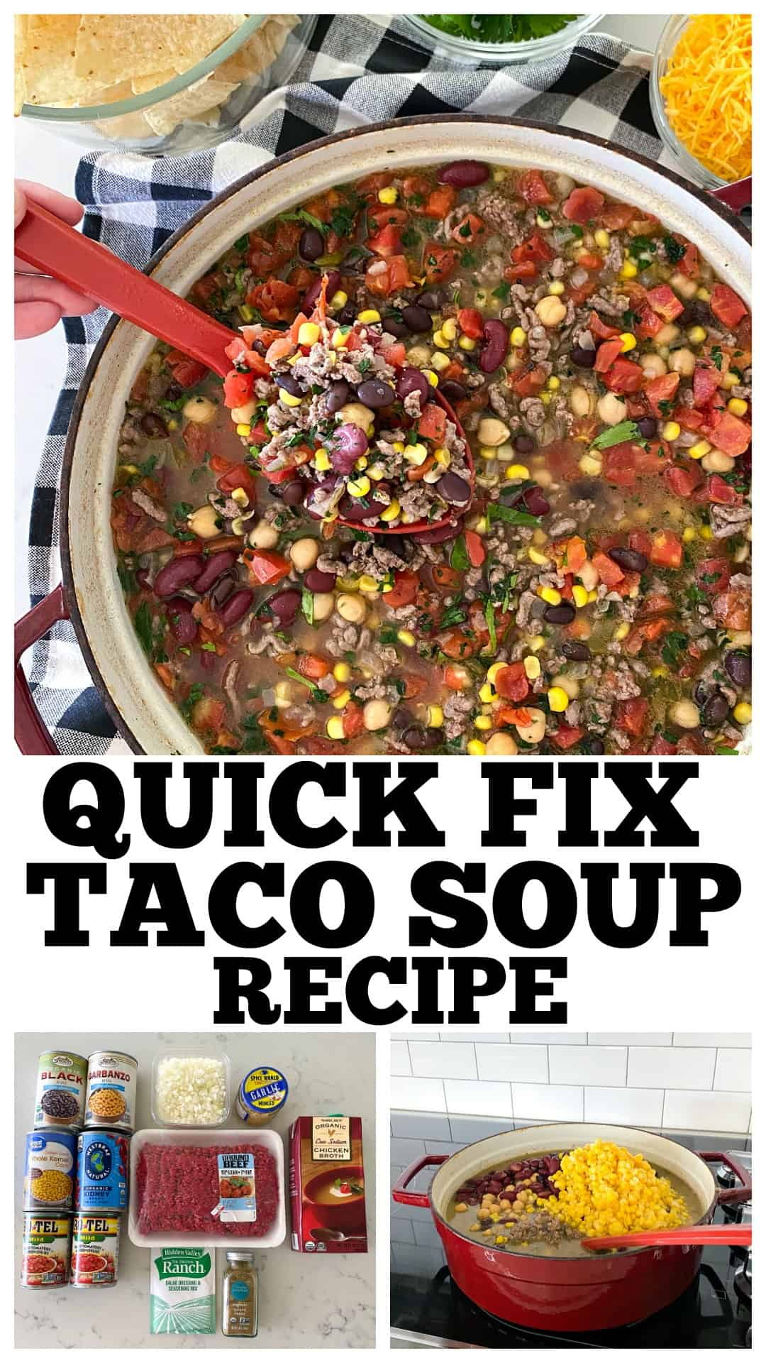 photo collage of taco soup