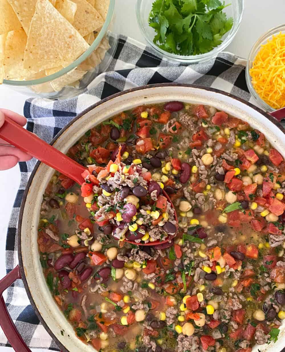 taco soup in soup pot