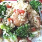Chicken Sausage, Broccoli and Parmesan Brown Rice Dinner