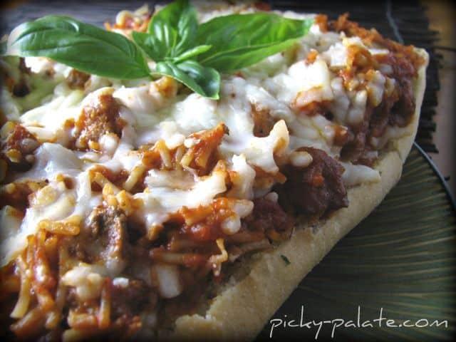 A loaf of Toasted Garlic Spaghetti Bruschetta