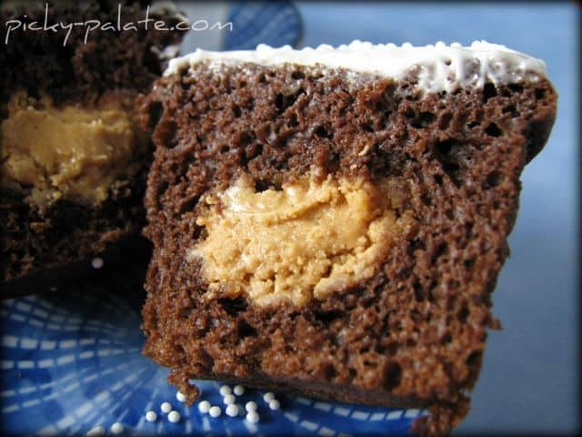 Half of a Chocolate Cupcake with Peanut Butter Filling Inside