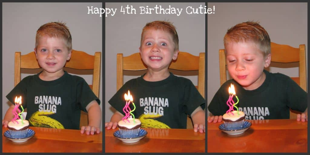A Collage of Images of Brady with His Birthday Cupcake