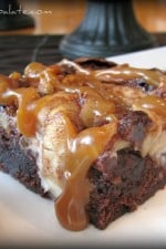 Roasted Apples N' Cream Caramel Topped Brownies