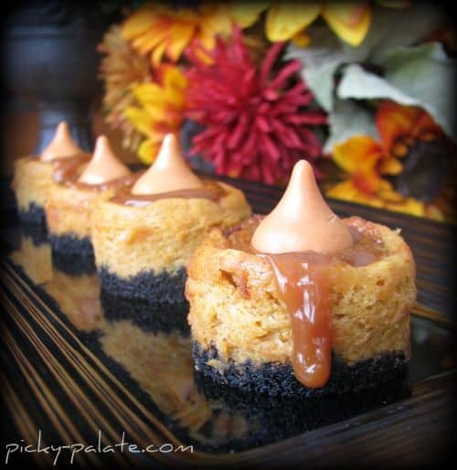 Four Pumpkin Cheesecake Bites Lined up on a Serving Platter