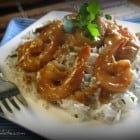 Sweet and Spicy Almond Glazed Shrimp Over Cilantro Basmati Rice