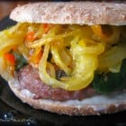 Carmelized Onion and Sweet Pepper Turkey Burgers