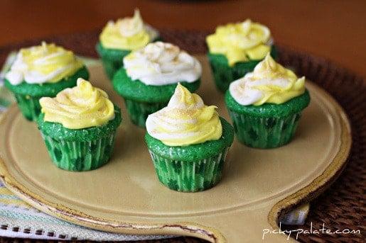 Green Velvet Baby Cakes on a Platter