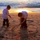 Watching Sunset at Corona Del Mar Beach...