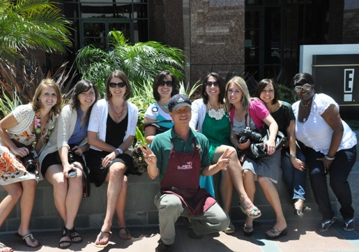 A Group Photo of Food Bloggers and a Food Truck Chef in LA