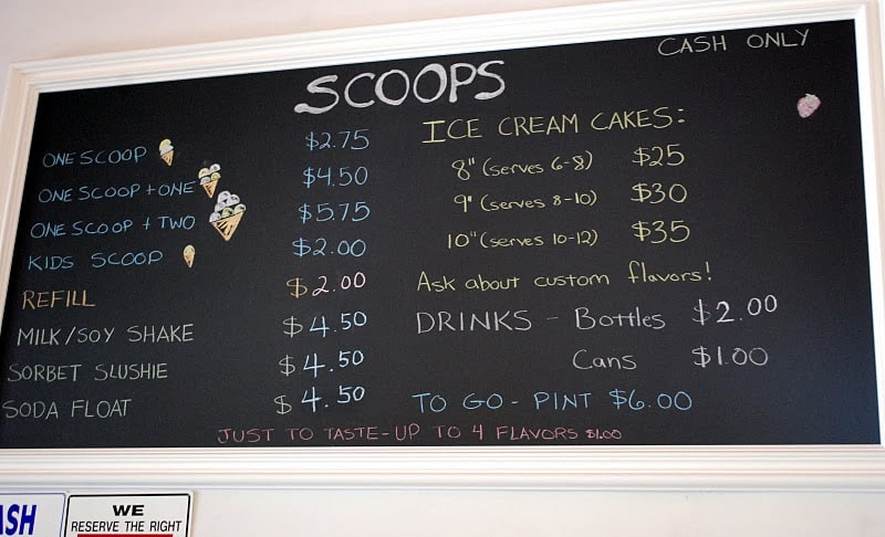 A Chalkboard with the Menu Written on it at Scoops