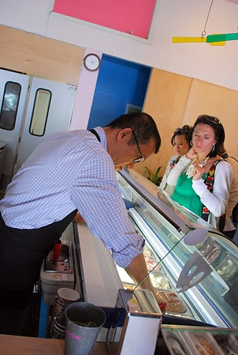 Mr. Kim Scooping Gelato for Customers at Scoops