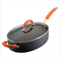 Hard-Anodized+5-Quart+Oval+Saute+Pan+with+Helper+Handle+in+Orange