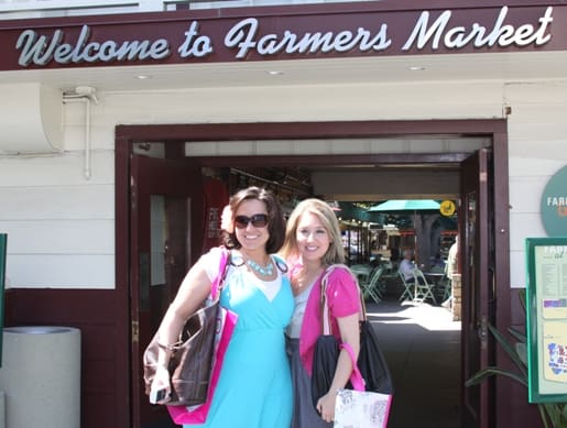 Mandy and Jenny in Front of the LA Farmer's Market Entrance