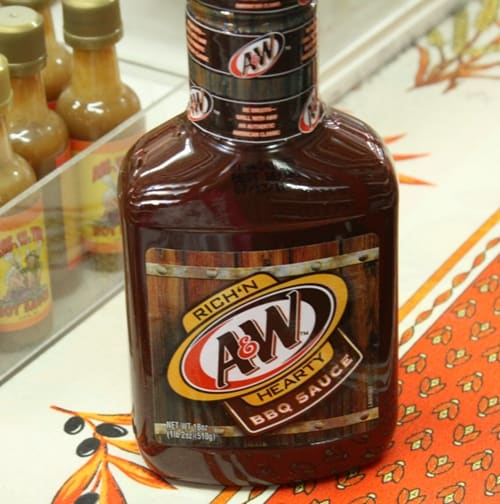 A Bottle of A&W Barbecue Sauce on an Orange and White Table