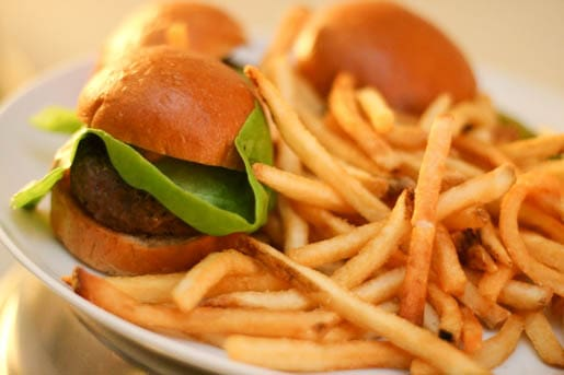 Three Kobe Beef Sliders on a Plate with French Fries