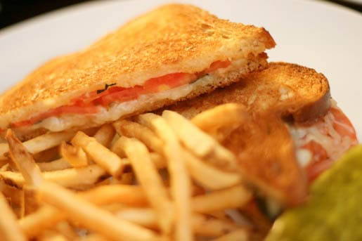A Plate Full of Fries and a Tomato Basil Grilled Cheese Sandwich