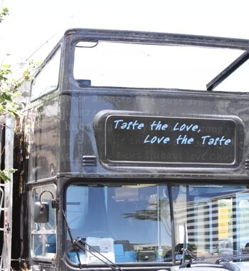A Food Truck in LA That Has a Sign Saying Taste the Love, Love the Taste