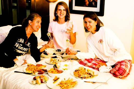 Jenny, Amanda and Me Enjoying the Plates of Food We Ordered from Room Service