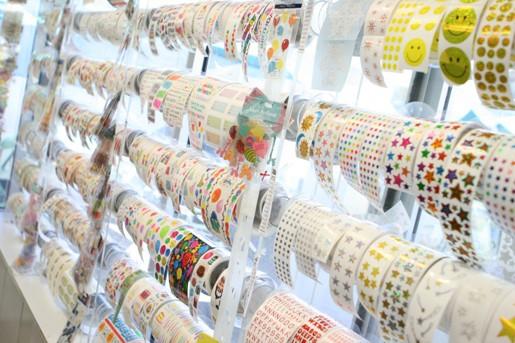 Rolls of Fun Stickers at a Cute Little Sticker Shop