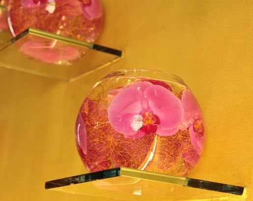 Two Clear Bowls with Real Pressed Flowers Inside Them