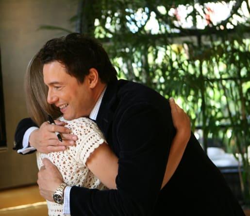 Amanda and Rocco Hugging at Culina Restaurant