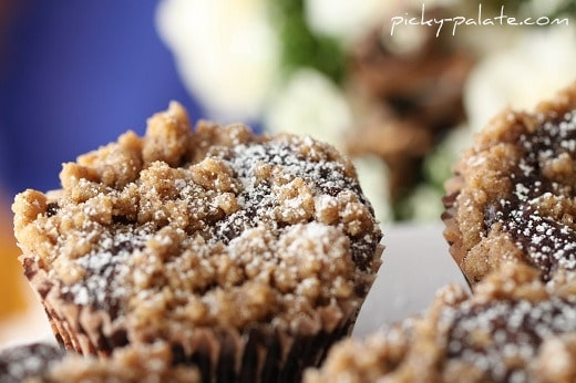 The tops of a few Chocolate Crumb Topped Cupcakes.