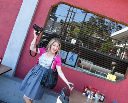 Me Posing with My Digital Camera Outside The Griddle Cafe