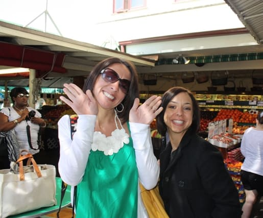Brittney and Jaclyn Posing Together Inside the Farmer's Market