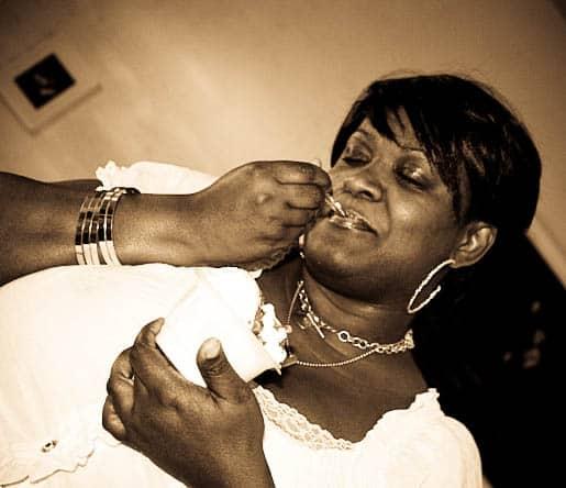 Shelisa Savoring a Bite of Her Vanilla Gelato