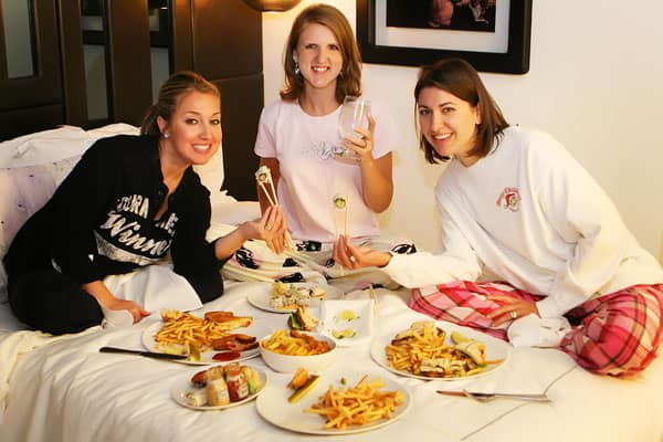 Amanda, Jenny and Me Eating Foor From Room Service in Our Hotel