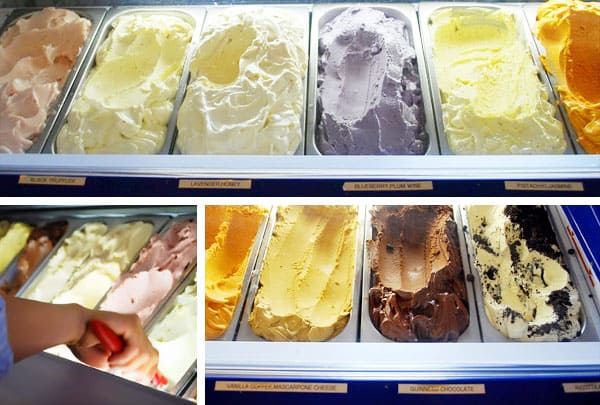 A Collage of the Selection of Gelato Flavors at Scoops