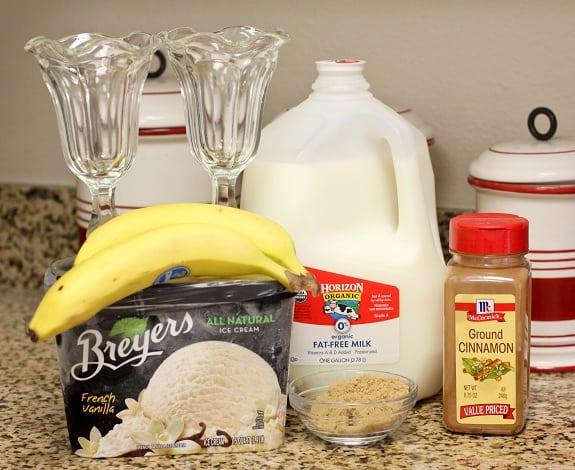 Bananas, Milk, Ice Cream, Cinnamon, Brown Sugar and Milkshake Glasses