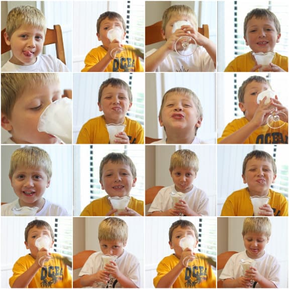 My Sons Enjoying their Banana Milkshakes