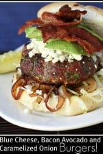 Blue Cheese, Bacon, Avocado and Caramelized Onion Burgers