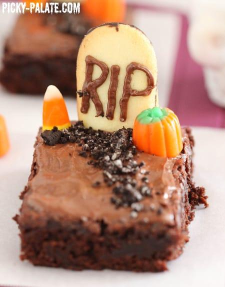 Fudgy Graveyard Brownies - Picky Palate