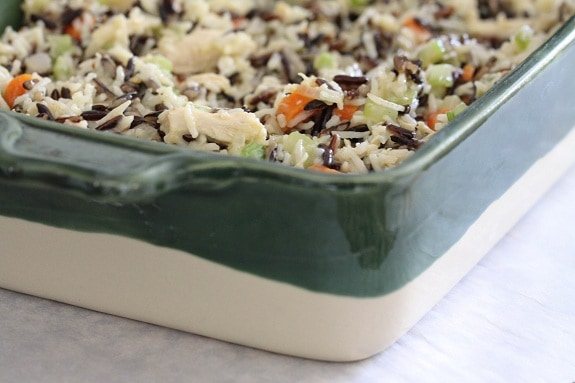chicken and rice casserole in baking dish