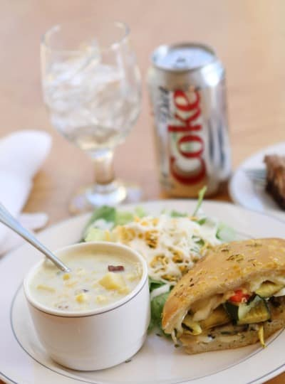 A Plate of the BHG Cook-Off Lunch Next to a Can of Diet Coke