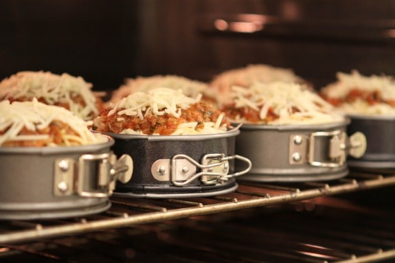 Jenny's Spaghetti Pies on a Rack in the Oven