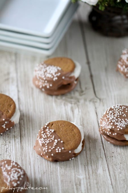 chocolate dipped Gingersnap S'mores.