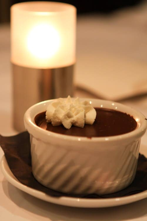 A Bowl of Chocolate Pot de' Creme Topped with Whipped Cream