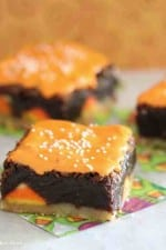 Image of Shortbread Candy Corn Kissed Brownies on a Plate