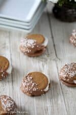 Gingersnap marshmallow sandwich cookies dipped in chocolate